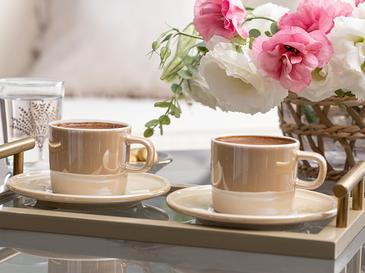 Fora Porselen 2 Kişilik Kahve Fincan Takımı 100 Ml Sütlü Kahve