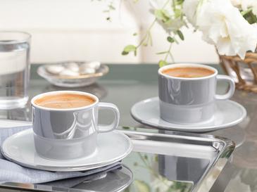 Lola Porselen 2 Kişilik Kahve Fincan Takımı 80 Ml Gri
