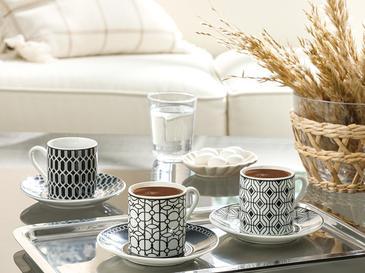 Rack Porselen 6 Kişilik Kahve Fincan Takımı 80 Ml Siyah