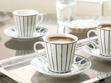Adelmo Porselen 6 Kişilik Kahve Fincan Takımı 80 Ml Siyah