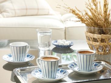 Adelmo Porselen 6 Kişilik Kahve Fincan Takımı 80 Ml Lacivert