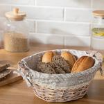 Creative Söğüt Yuvarlak Ekmek Sepeti 25x10 Cm Bej