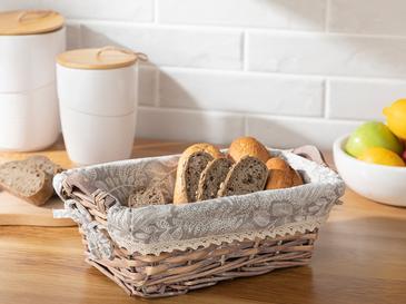 Creative Söğüt Dikdörtgen Ekmek Sepeti 29x19x10 Cm Bej