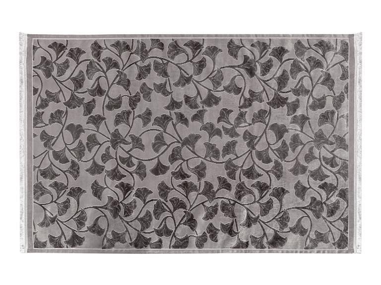 Velvet Ginkgo Kadife Halı 160x230 Cm Gri