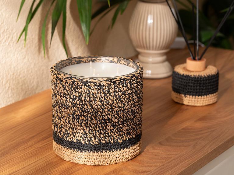 Handmade Cam Kokulu Mum 14x14 Cm Siyah-bej