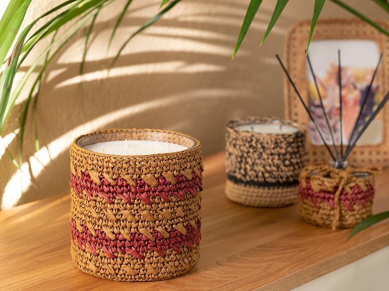 Handmade Cam Kokulu Mum 14x14 Cm Krem - Bordo