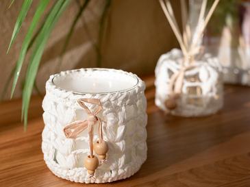 Handmade Cam Kokulu Mum 9x10,5 Cm Beyaz