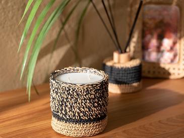 Handmade Cam Kokulu Mum 9x10,5 Cm Siyah-bej