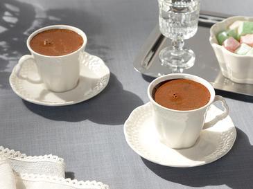 Viyana Porselen 2 Kişilik Kahve Fincan Takımı 80 Ml Açık Krem