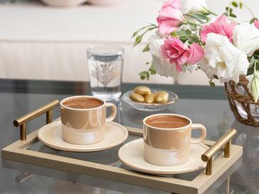 Lola Porselen 2 Kişilik Kahve Fincan Takımı 80 Ml Sütlü Kahve
