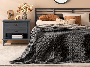 Rope Stripes Pamuklu Çift Kişilik Battaniye 200x220 Cm Siyah