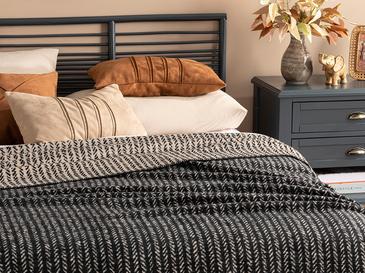 Rope Stripes Pamuklu Tek Kişilik Battaniye 150x200 Cm Siyah