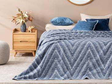 Zigzag Mono Pamuklu Tek Kişilik Battaniye 150x200 Cm Lacivert