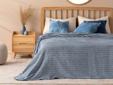 Pinstripes Pamuklu Çift Kişilik Battaniye 200x220 Cm Mavi