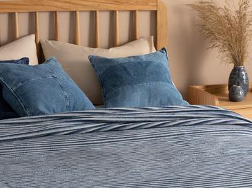 Pinstripes Pamuklu Tek Kişilik Battaniye 150x200 Cm Mavi