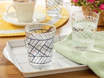 Blue Stripes Cam 6'lı Kahve Yanı Su Bardağı 100 Ml Mavi