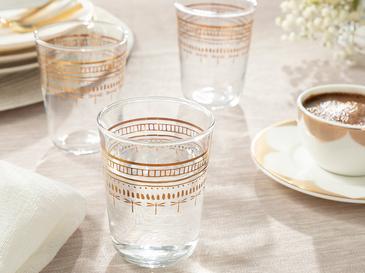 Galia Goldie Cam 6'lı Kahve Yanı Su Bardağı 100 Ml Gold