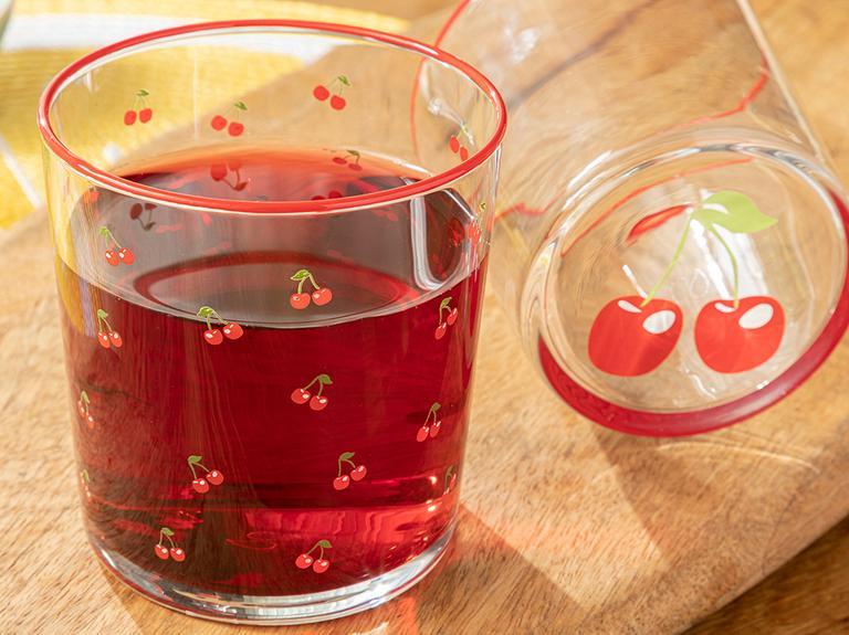 Cherry Cam 2'li Meşrubat Bardağı 380 Ml Kırmızı