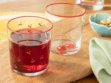 Cherry Cam 2'li Meşrubat Bardağı 510 Ml Kırmızı