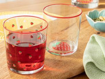 Strawbery Cam 2'li Meşrubat Bardağı 510 Ml Pembe