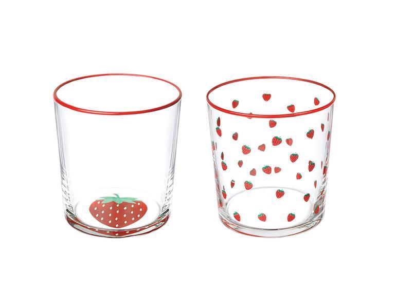 Strawbery Cam 2'li Meşrubat Bardağı 380 Ml Pembe