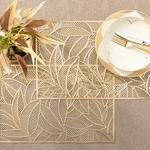 Shine Leaf Pvc 2'li Amerikan Servis 30x45 Cm Gold