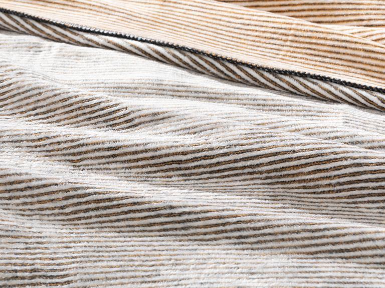 Thin Stripe Pamuklu Tek Kişilik Battaniye 150x200 Cm Antrasit – Hardal
