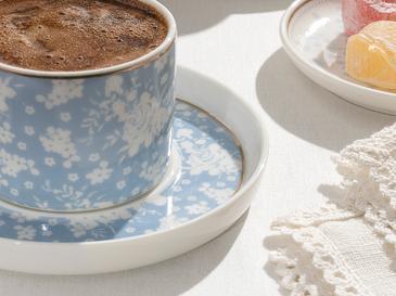 Bloom New Bone 2 Kişilik Kahve Fincan Takımı 80 Ml Beyaz - Mavi