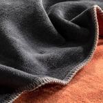 Plain Pamuklu Tek Kişilik Battaniye 150x200 Cm Antrasit - Turuncu