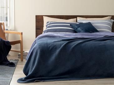 Plain Pamuklu Tek Kişilik Battaniye 150x200 Cm Lacivert- Mavi