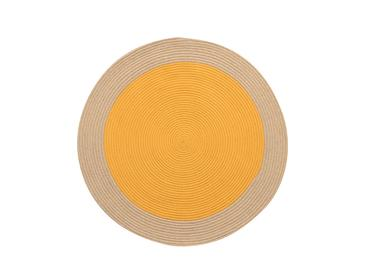 Round Jüt Kilim 120 Cm Sarı