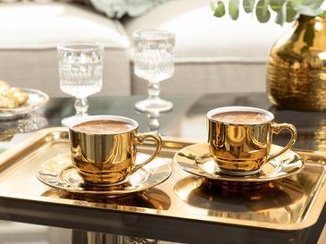 Fora Porselen 2 Kişilik Kahve Fincan Takımı 100 Ml Gold