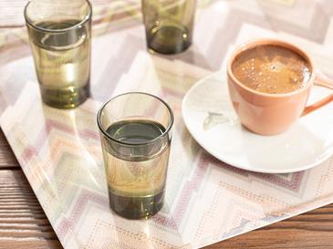 Petunia Cam 6'lı Kahve Yanı Su Bardağı 100 Ml Yeşil