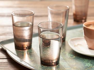 Petunia Cam 6'lı Kahve Yanı Su Bardağı 100 Ml Kahverengi