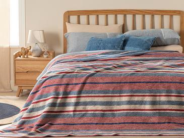 Bold Stripe Pamuklu Çift Kişilik Battaniye 200x220 Cm Kırmızı - Mavi