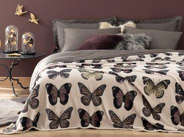 Butterfly Effect Baskılı Super Soft Çift Kişilik Battaniye 200x220 Cm Taş Rengi