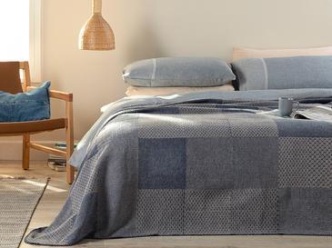 Modern Patch Pamuklu Tek Kişilik Battaniye 150x200 Cm Lacivert