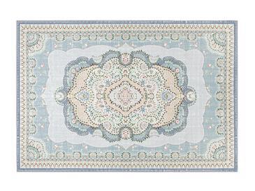 Romantic Floral Şönil Kaydırmaz Taban Halı 160x230 Cm Açık Mavi