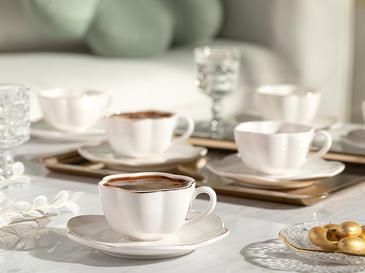 Riley Porselen 6'lı Kahve Fıncan Takımı 90 Ml Beyaz