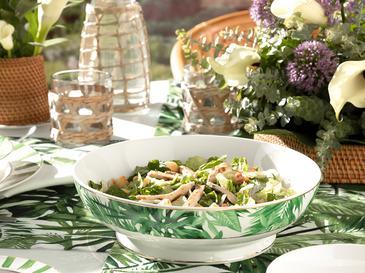 Arzu Sabancı Leafage New Bone Salata Kasesi 25 Cm Beyaz - Yeşil