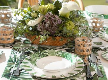 Arzu Sabancı Leafage New Bone Çukur Tabak 23 Cm Beyaz - Yeşil