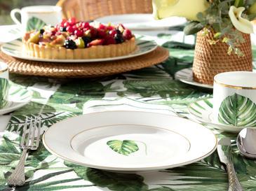 Arzu Sabancı Leaf New Bone Pasta Tabağı 20 Cm Beyaz - Yeşil