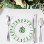 Arzu Sabancı Leaf New Bone Tatlı Tabağı 15 Cm Beyaz - Yeşil