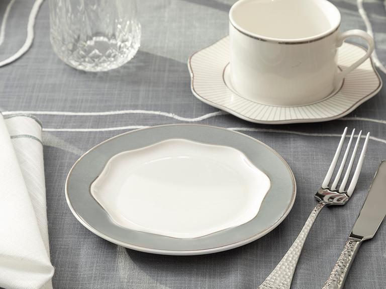 Arzu Sabancı Grace New Bone Tatlı Tabağı 15 Cm Beyaz - Gri