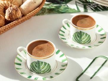 Arzu Sabancı Leaf New Bone 2 Kişilik Kahve Fincan Takımı 80 Ml Beyaz - Yeşil