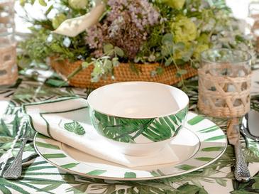 Arzu Sabancı Leafage New Bone Kase 14 Cm Beyaz - Yeşil