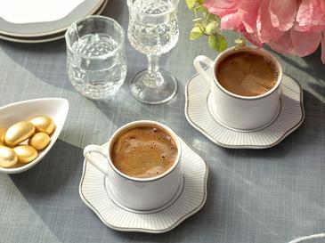Arzu Sabancı Grace New Bone 2 Kişilik Kahve Fincan Takımı 80 Ml Beyaz - Gri