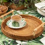 Arzu Sabancı Nude Rattan Yuvarlak Tepsi 24 Cm Açık Kahve