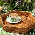 Arzu Sabancı Nude Rattan Altıgen Tepsi 25x25x5 Cm Açık Kahve