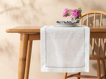 Arzu Sabancı Adora Polyester Runner 40x150 Cm Beyaz - Gri